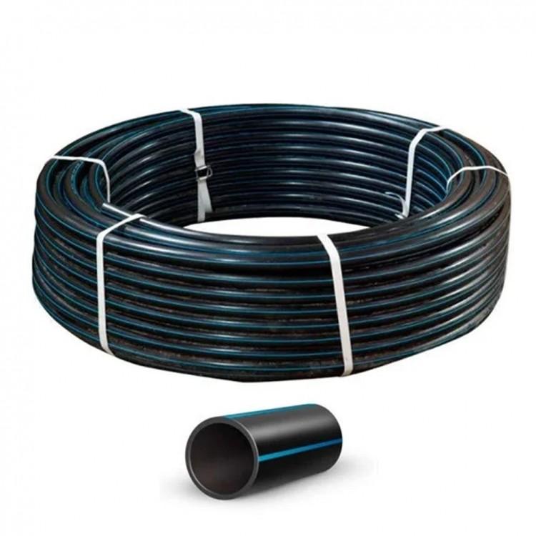 Труба полиэтиленовая, черная с синей полосой (6 атмосфер) Ø20 (1,6 мм)